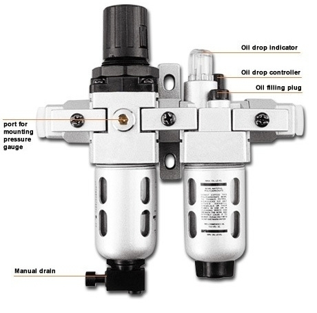 "53 CFM Filter Regulator Combination & Lubricator - 1/4"" NPT"