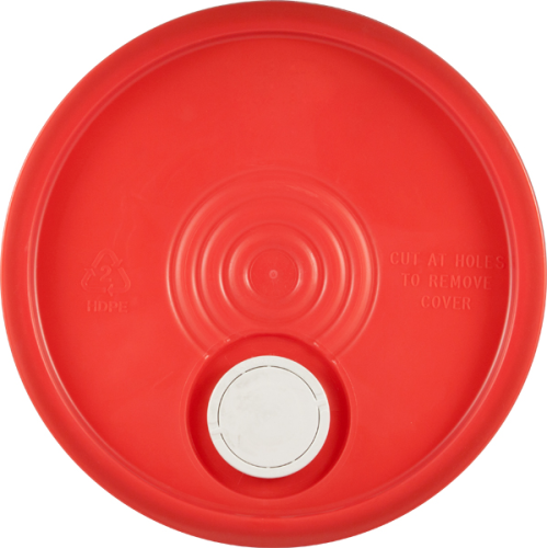 Red Lid with pour spout for 5 gallon pails